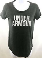 Under Armour T Shirt Loose Fit Heat Gear Women's Size XS Charcoal Gray Graphic