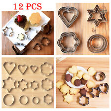 12 Pcs Metal Biscuit Cookie Cutters Cake Mould Sugarpaste Decorating Pastry UK