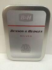 Benson & Hedges Silver Advertising Logo Cigarette Tobacco Storage 2oz Hinged Tin