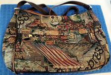 Vintage Sas Tapestry Crossbody Purse w Leather Trim Straps Expresso Cafe Theme