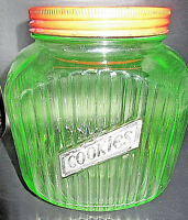 1930's Anchor Hocking Uranium Glass Cookie Jar  -Nice Fluoresce- Rare