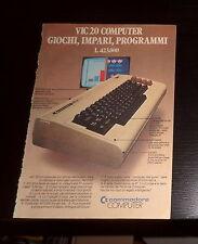 Advertising Italian Pubblicità Werbung: COMMODORE COMPUTER VIC 20 *1983*