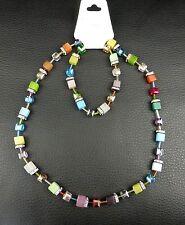Achat-Set Würfel-Halskette+Armband als Verlängerung Collier Strass Magnet