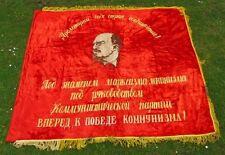 Rare Vintage Soviet Russian Large Velvet Flag/Banner with Fringe