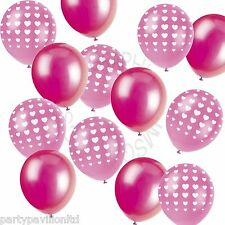 Plain Bright Pink & Heart Printed Helium Balloons,Wedding Party Decorations