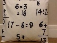 """New Funky Number Sums Maths Black & White Fabric Scatter Cushion Covers 16"""""""