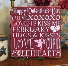 Primitive Valentine's Day Sign Cupid Love Heart Subway Art Typography