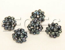 5 piece 17mm black Freshwater pearls beads ball W885A87