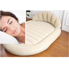 BEIGE DAYBED LOUNGER AIR INFLATABLE SOFA COUCH MATTRESS SLEEPER DOUBLE FLOCKED