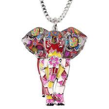 Enamel Alloy Jungle Elephant Necklace Pendant Charm Animal Jewelry For Women Kid