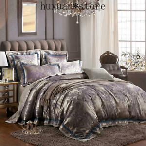Luxury Silver Satin Queen King Bedding Set Bed Cover Cotton Bedsheet Duvet Cover