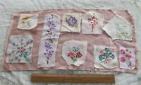 8 Vintage Swiss c1930-1940 Embroidered Rose & Floral Fabric Samples