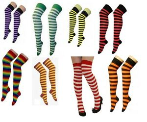 Ladies Over The Knee Stripe Socks Thigh High In Various Colours For  Fancy Dress