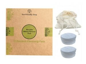 Reusable Make Up Remover Pads 16 Face Facial Washable Bamboo Cleansing Pads
