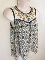 Women's Xhilaration Sleeveless Blouse Lace Top Black Print Keyhole Back Size S