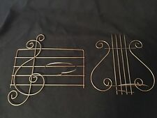 Metal Wall Art 2 Music Plant Holders Treble Clef & Harp Symbol Bronze Gold Color