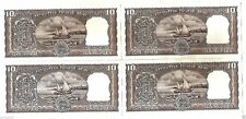 10 RS TEN RUPEES BLACK BOAT UNC NEW NOTE SET OF 4 PCS. IN CONSECUTIVE SERIAL