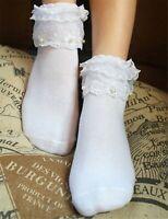 Women Girl Retro White Fancy Ankle Ruffle Frilly Pearl Short Lace Cotton Socks