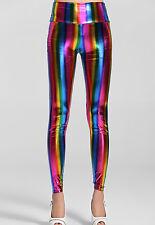 Nuevos leggings metálico de arco iris Ropa de club nocturno Vestido elaborado leggings Festival Talla 10-12