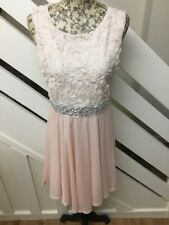 Beautiful Jane Norman Nude Colour Prom Party Dress Jewel Floral Lace 12UK