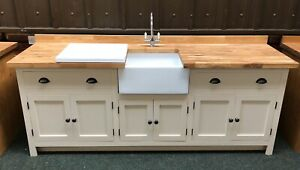 Painted Fired Earth Ivory Kitchen Unit Inc Taps , Drainer And Belfast Sink