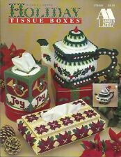 Holiday Tissue Boxes Plastic Canvas Pattern Covers Teapot Lantern Angel NEW