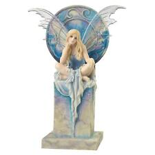 Wu77037 - Shimmer Fantasy Fairy Statue - Sitting on Her Faux Marble Throne.