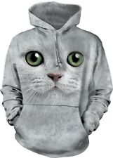 Green Eyes Face Adult Cat Hoodie the Mountain