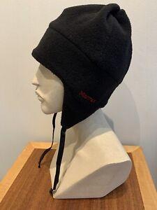 Vintage Marmot BLACK Fleece Cap Hat Ear Flaps Men's one size Made in USA
