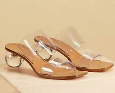 Womens Transparent Crystal Med Ball Heels Slippers Fashion Sandals Shoes SZ H793