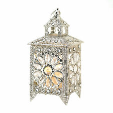 Tabletop Candle Lantern w/ Faceted Jewels Luxurious Silver-tone Filigree