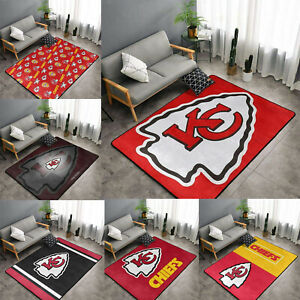 Kansas City Chiefs Area Rug Fluffy Floor Mat Living Room Rug Anti-Skid Carpet
