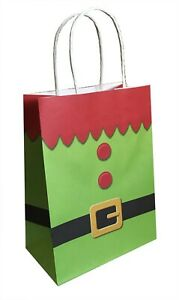 Christmas Party Gift Bag Elf Tunic Xmas Kids Children Sweet Candy Paper Loot Bag