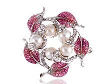 Rose Pink Faux Cream Pearl Leaf Wreath Crystal Rhinestone Pin Brooch ALA