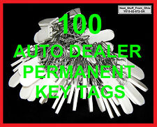 AUTO DEALERSHIP PERMANENT KEY TAG SECURITY SEALS. WRITE-ON AREA. 100 KEY TAGS