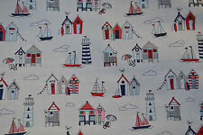HAPPYDAYS Nautical 100% Cotton Lifestyle Fabric Funky Seaside Summer Print Cheap