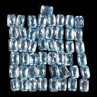 VVS 49 Pcs Natural Blue Topaz 7mm/5mm Top Quality Emerald Checker Cut Gemstones