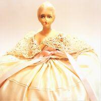 Vintage Chalkware Half Doll Pin Cushion Boudoir Ribbon Satin Lace Dress Antique