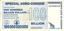 Zimbabwe 100 Billion Dollar Special Agro Cheque 2008 p64 VF