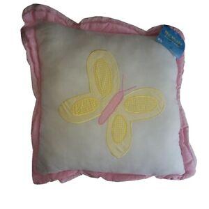 My World Flower Burst Yellow Butterly Throw Pillow