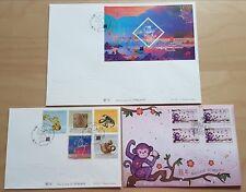 China Macau 2016 Zodiac Monkey Year Stamp SS & Frama Label 3 FDC 中国澳门猴年三个首日封