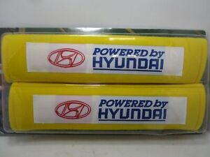 Hyundai Powered by Hyundai Seatbelt Seat Belt Shoulder Pad Cover Pair Yellow