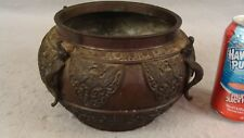 Antique 19C Chinese Archaic Bronze Censor Butterfly Bowl