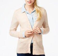 Maison Jules Sweater Sz L Fresco Pink Mohair Wool Blend Knit Button Cardigan