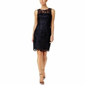 ADRIANNA PAPELL NEW Women's Navy Illusion Neck Lace Sheath Dress 16 TEDO