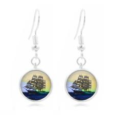 Ship Set Sail glass Frea Earrings Art Photo Tibet silver Earring Jewelry #494