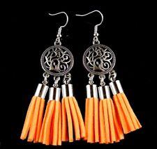 1 Bohemian Pair of Light Orange Suede Tassel Dangle Fashion Earrings #1873