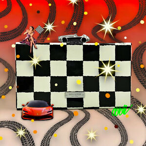 KATE SPADE PHOTO FINISH MARCELLE RACE CAR CHECKERED CLUTCH SHOULDER BAG
