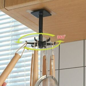 360 Degrees Rotated Punch Free Hook Kitchen Wall Storage Hanger Hanging Rack