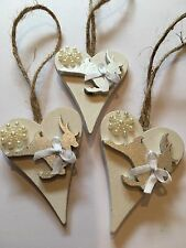 3 X Christmas Decorations Reindeer Shabby Chic Rustic Nordic Wood Handmade
